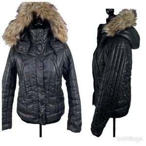 Tommy Hilfiger Black Puffer Jacket With fur hood